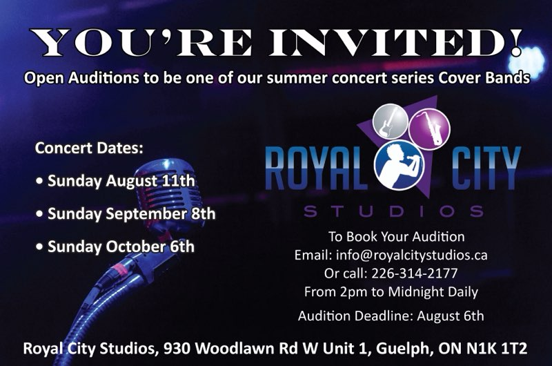 Musicians: Open Auditions for Cover Band Concert Series!
